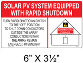 Solar Sign - SOLAR PV SYSTEM EQUIPPED WITH RAPID SHUTDOWN - Item #07-113