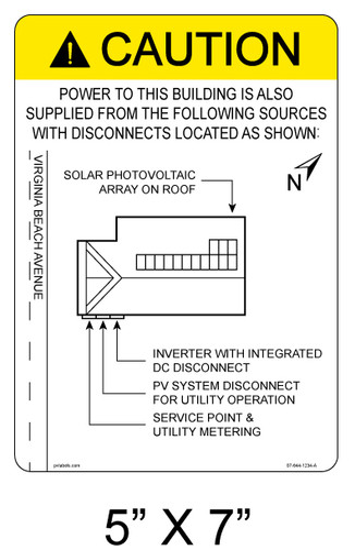 "Solar Map Sign - 5"" x 7"" - Item #07-644"