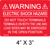PV Labels - Solar Warning Label - #03-100 - Electric Shock Hazard