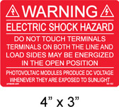 "PV Solar Warning Label - 4"" X 3"" - 3/16"" letters - Item #03-102"