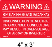 "PV Solar Warning Label - 4"" X 3"" - 3/16"" Letters - Item #03-103"