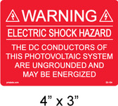 "PV Solar Warning Label - 4"" X 3"" - 1/16"" Letters - Item #03-104"