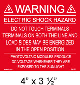 "Solar Warning Placard - 4"" x 3 1/2"" - Item #04-102"
