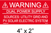 "Solar Warning Placard - 4"" x 2"" - Item #04-211"