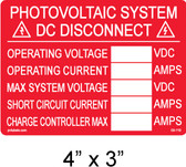 "PV Solar Disconnect Label - NEC 690.14(C)(2) - NEC 690.54 - 4"" x 3"" - Item #03-110"
