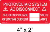 "PV Solar Warning Label - NOW Minimum 3/16"" Letters - Item #03-210"