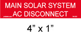"Solar Warning Placard - 4"" x 1"" - 1/4"" Letters - Item #04-333"