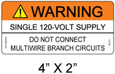 "Solar Warning Label - 4"" X 2"" - 3/16"" Letters - Item #05-213"
