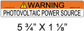 "Solar Warning Label - 5 3/4"" X 1 1/8"" - 3/16"" Letters - Item #05-314"