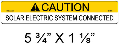 "Solar Warning Label - 5 3/4"" X 1 1/8"" - 3/16"" Letters - Item #05-335"