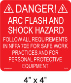 "PV Solar Danger Arc Flash Hazard Label - 4"" x 4"" - 1/4"" Letters - Item #03-361"
