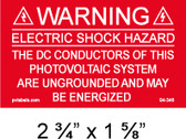 "Solar Warning Placard - 2 3/4"" x 1 5/8"" -PV Labels #04-346"