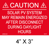 "Solar Warning Placard - 4"" x 3"" - Item #04-107"