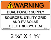 "Solar Warning Label - 2 3/4"" x 1 5/8"" - 3/16"" Letters - Item #05-411"