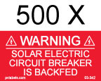"PV Solar Warning Label - 2"" x 1"" - 1/8"" Letters - Item #03-342"