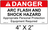 "Danger Arc Flash Label - 4"" X 2"" - Item #05-590"