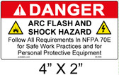 "Danger Arc Flash Label - 4"" X 2"" - Item #05-595"