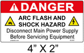 "Danger Arc Flash Label - 4"" X 2"" - Item #05-597"