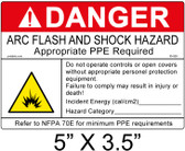 "Danger Arc Flash Label - 5"" X 3.5"" - Item #05-829"