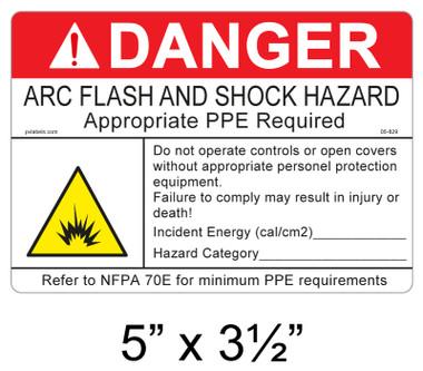 "Danger Arc Flash Label - 5"" X 3.5"" - Item #05-829"