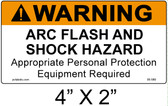 "Warning Arc Flash Label - 4"" X 2"" - Item #05-580"