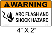 "Warning Arc Flash Label - 4"" X 2"" - Item #05-582"