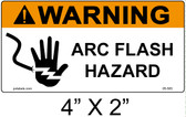 "Warning Arc Flash Label - 4"" X 2"" - Item #05-583"