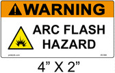 "Warning Arc Flash Hazard Label - 4"" X 2"" - Item #05-584"