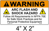 "Warning Arc Flash Label - 4"" X 2"" - Item #05-585"