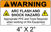 "Warning Arc Flash Label - 4"" X 2"" - Item #05-586"