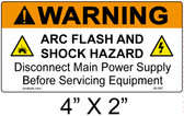 "Warning Arc Flash Label - 4"" X 2"" - Item #05-587"