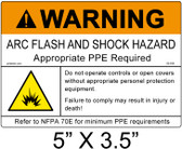 "Warning Arc Flash Label - 5"" X 3.5"" - Item #05-838"