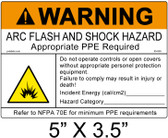 "Warning Arc Flash Label - 5"" X 3.5"" - Item #05-839"