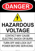 Danger Hazardous Voltage, #53-123 thru 70-123