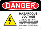 Danger Hazardous Voltage, #53-125 thru 70-125