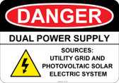 Danger - Dual Power Supply - Utility Grid and Photovoltaic Solar Electric System #53-129 thru 70-129