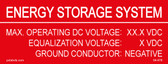 "Energy Storage System Placard - 4"" x 1 1/2"" - Item #04-678"
