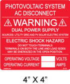 "PV Solar Warning Label - 4"" x 34"" - Red with white letters - Item #03-116"