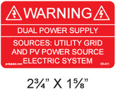 "Solar Warning Label - 2 3/4"" x 1 5/8"" - 3/16"" Letters - Item #03-411"