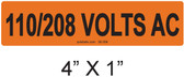 110/208 VOLTS AC - PV Labels #30-356