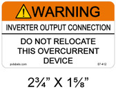 Warning Inverter Output Connection - .040 Aluminum - Item #07-412