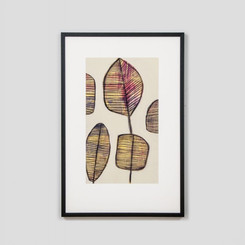 FRAMED PRINT: LEAFLETS 2.  MODERN FRAMED PRINT DEPICTING LEAVES.  FRAMED IN AUSTRALIA.  AVAILABILITY: USUALLY SHIPS IN 2-4 WEEKS.