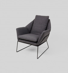 BODEN ARMCHAIR: GREY (BLACK FRAME)