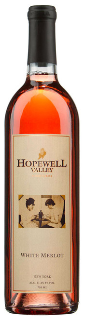 A bottle of White Merlot wine produced by Hopewell Valley Vineyards - one of many New Jersey wineries