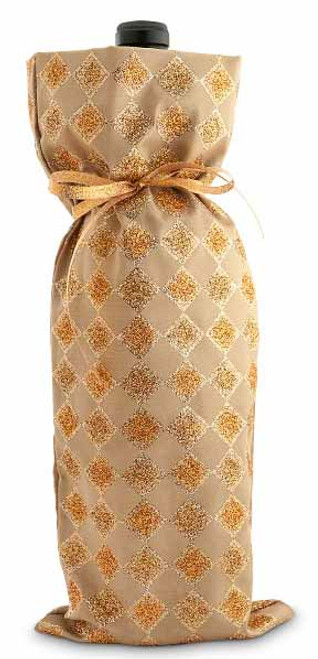 Wine Gift Bag - Golden Diamonds