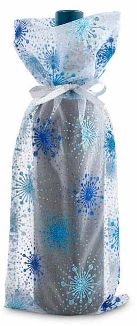 Wine Gift Bag - Glitter Snowflakes