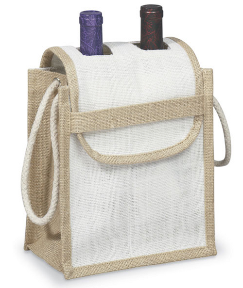 Jute Wine Bag w/ Double Neck Flap