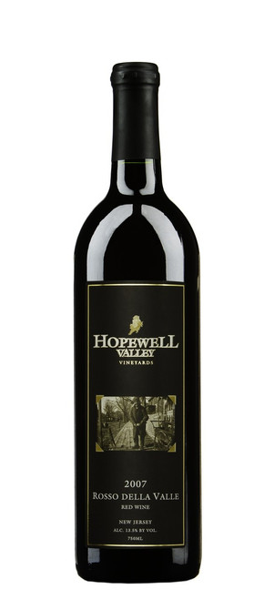 A bottle of Rosso Della Valle wine produced by Hopewell Valley Vineyards - one of many New Jersey wineries