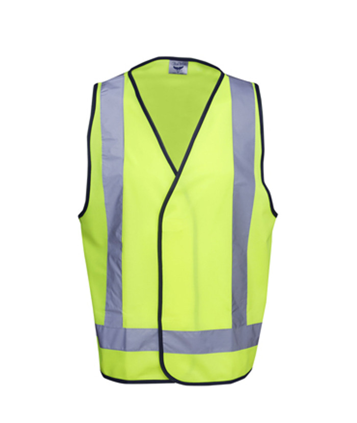 Safety Vest with X Pattern - Fluoro Yellow /Navy (Front)