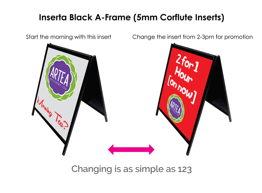 Inserta Black A-Frame (Corflute Inserts)
